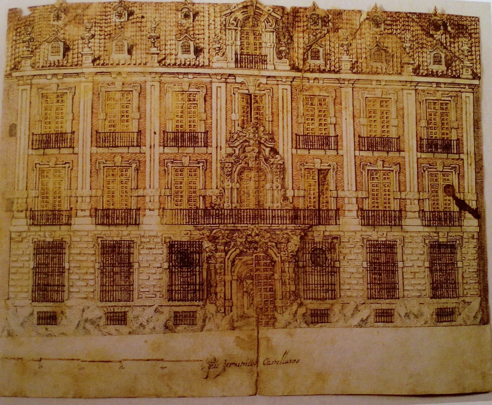 J.B.Churriguera. dibujo palacio Goyeneche Madrid. col. particular