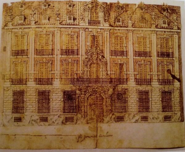 José Benito de Churriguera: Dibujo para el Palacio de José de Goyeneche, actual Real Academia de Bellas Artes de San Fernando.