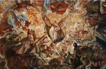 Antonio Palomino: Detalle de San Vicente Ferrer en la bóveda de la Iglesia de los Santos Juanes de Valencia.
