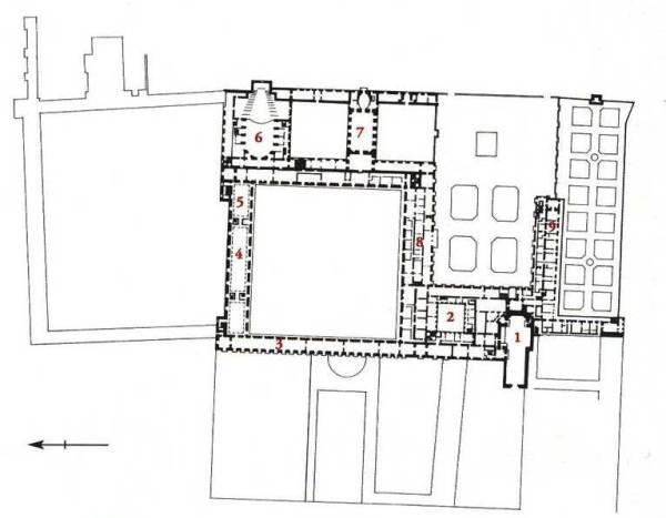 Ubicación del Coliseo del Buen Retiro señalado con el nº 6 según el plano de René Carlier. Fuente: Mª Ángeles Jordano Barbudo.