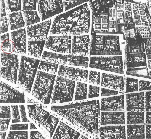 Pedro de Texeira: Plano de Madrid. 1656. Señalado con un círculo rojo la ubicación del actual Palacio de Santoña.