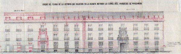 Croquis del plano de la reforma para el Palacio de Santoña.