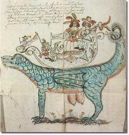 Dibujo de la Tarasca para el Corpus Christi de 1670 en Madrid.