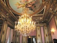 Salón Luis XV: detalle de la lámpara de cristal de la Granja