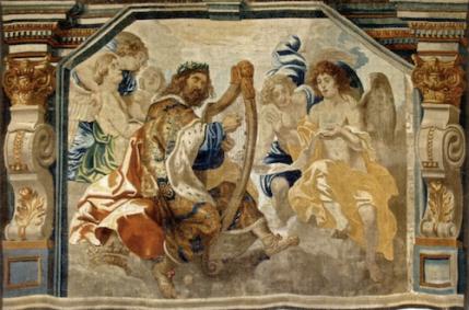Manufactura de Jacob Geubels: El Rey David tocando el arpa. Madrid, Monasterio de las Descalzas Reales.