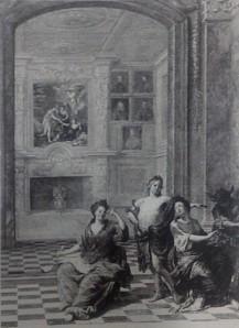 Jacob Van Opstal: Detalle de una galería pictórica en la que se aprecian los retratos de los reyes y de los infantes.