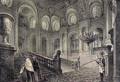 Escalera del Palacio Real. Grabado s. XIX, donde se aprecian los leones esculpidos