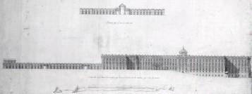 Francisco Sabatini. Proyecto para Aumento del Palacio Real. Alzados del lado Sur y Oriente. ca. 1790. AGP