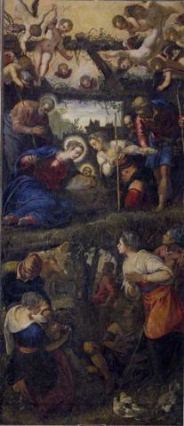 Tintoretto, Adoración de los pastores, 1583, 432x186 cm., Monasterio de San Lorenzo de El Escorial.