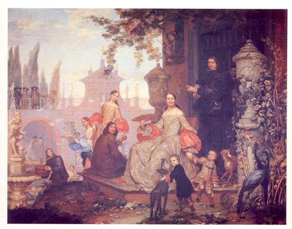 Jan van Kessel III: Retrato de familia en un jardín. Museo del Prado. Quizás la Huerta de San Joaquín.