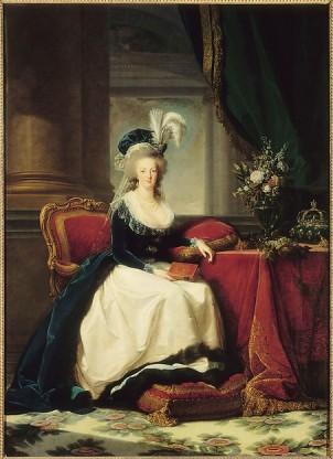 Elisabeth Louise Vigée Le Brun: Retrato de María Antonieta en un vestido de tercipelo azul y falda blanca, 1788. Versailles, châteaux de Versailles et de Trianon