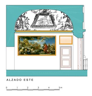 Alzado Este del Despacho del Rey en el Palacio de Aranjuez.