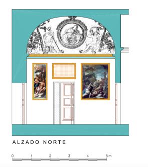 Alzado Norte del Despacho del rey en el Palacio de Aranjuez.