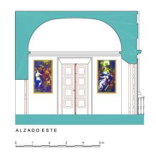 Alzado Este del Dormitorio del Rey del Palacio de Aranjuez.