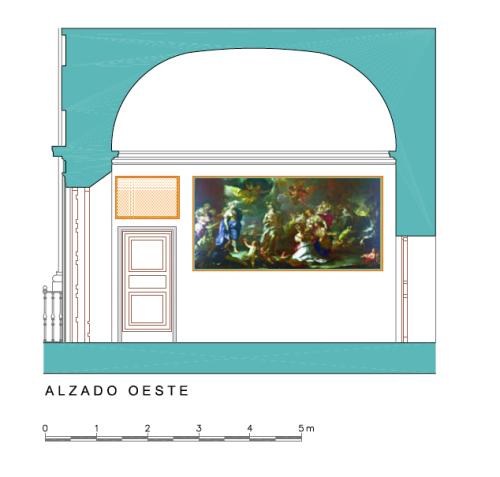 Alzado Oeste del Dormitorio del Rey del Palacio de Aranjuez.