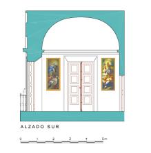 Alzado Sur del Dormitorio del Rey en el Palacio de Aranjuez.