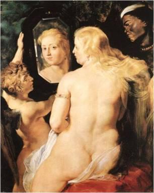 Pedro Pablo Rubens: Venus del Espejo. óleo sobre tabla. ca. 1615. Coll. príncipe Lichtenstein.