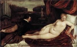Tiziano: Venus recreándose en la música. c. 1550Óleo sobre lienzo, 136 x 220 cm. Museo del Prado, Madrid