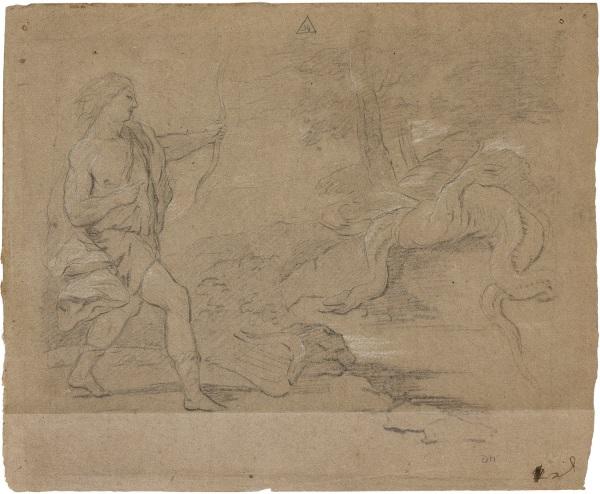 José del Castillo copiando a Luca Giordano: Apolo matando a la serpiente Pitón.