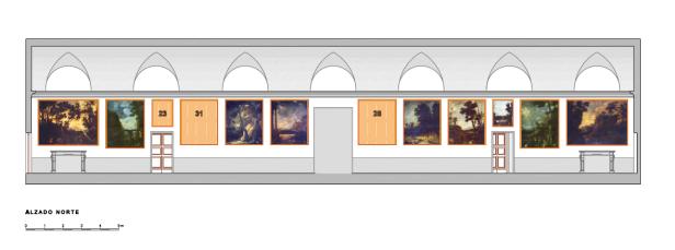 """Muro Norte del """"Salón"""" o Galería de Paisajes de Aranjuez."""