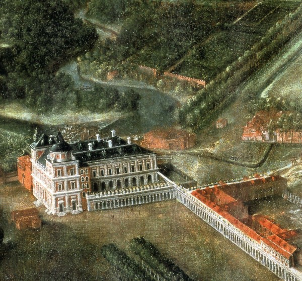 Vista del Palacio Real de Aranjuez en el siglo XVII. El Primer piso encima de la arcada es el que estaría ocupado por la Galería de paisajes.