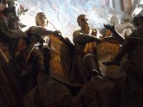 Detalle del grupo de profetas que prefiguran la Eucarisría. Transparente de la Catedral de Toledo. Foto: Laberintos del Arte