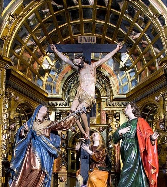 Juan de Villabrille y Ron: Grupo del Calvario. Capilla de la Buena Muerte en la iglesia de San Ignacio de Valladolid (actual iglesia de San Miguel)