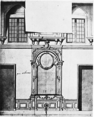 Du Verger: Diseño para el muro sur de la Pieza de Himeneo. París, Cabinet des Estampes.