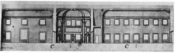 Du Verger: Sección del Alcázar en la que se muestran de izquierda a derecha, El Salón de los Espejos, la Pieza Ochavada y la Galería del Mediodía. París, Cabinet des Estampes.