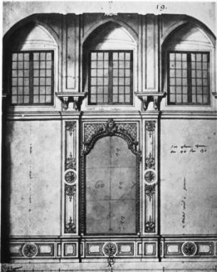 Du Verger: Diseño para el muero norte de la Cámara del Rey. París, Cabinet des Estampes.