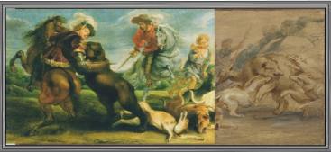 Pedro Pablo Rubens: La Caza del Oso. Reconstrucción del aspecto completo de la obra de la que se perdió una parte en el Incendio del Alcázar de Madrid.