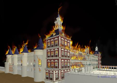 Carmen García Reig: Reconstrucción virtual del incendio del Alcázar de Madrid.