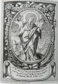 Virgen de los Dolores del convento de los Ángeles de Madrid. Estampa de Francisco Hernández. 1789.