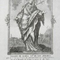 Virgen de los Dolores que se venera en la Real Casa de Arrepentidas de Madrid. Estampa de Lorenzo Sánchez Mansilla. finales s. XVIII.