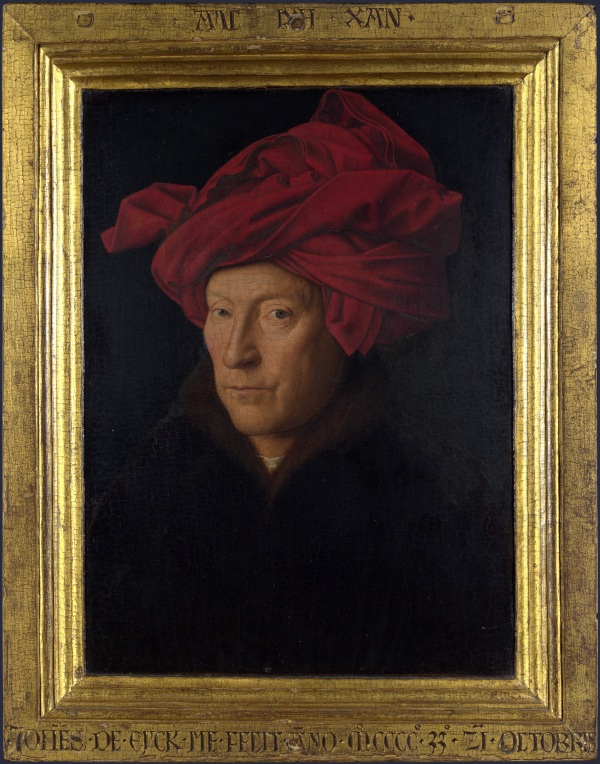 Jan Van Eyck: Retrato de hombre con turbante rojo, posible autorretrato. Londres, National Gallery.