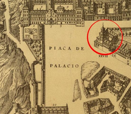 Pedro Texeira: Plano de Madrid en el que está marcada la ubicación de convento de San Gil.
