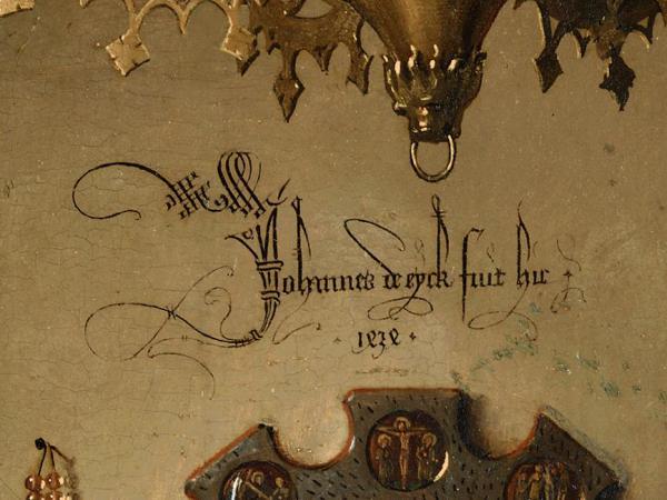 "Jan Van Eyck: Detalle de la firma de ""El Matrimonio Arnolfini"". Londres, National Gallery."