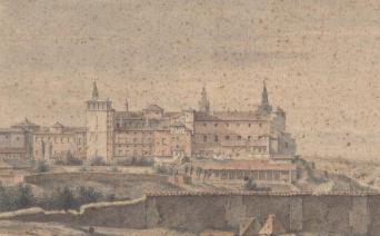 Anónimo. Vista del Alcázar desde el norte. ca. 1670-80. Museo Nacional de Arte de Cataluña. Barcelona.