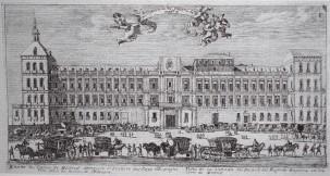 Louis Meunier. Fachada principal del Alcázar. ca. 1665. Museo de Historia.