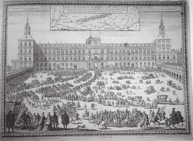 Nicolás Guerard. La Plaza de la Armería el 4 de Marzo de 1704, día en que partió Felipe V a la Campaña de Portugal (grabado). Museo de Historia.