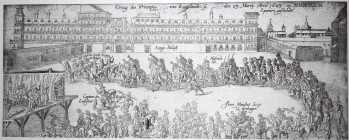 Anales de Khenvenhuller (detalle). Fachada del Alcázar en 1623, con motivo de la llegada del Príncipe de Gales.