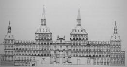 Propuesta de Juan Gómez de Mora para la fachada del Alcázar. Dibujo de José Manuel Barbeito.