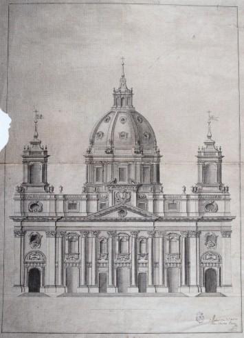Julián Sánchez Bort: Templo magnífico en honor del Santo Rey D. Fernando. 1753. Fachada. RABASF