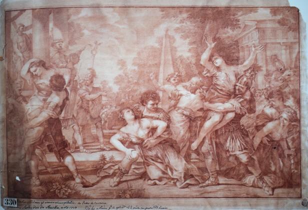 Mariano Salvador Maella: El rapto de las Sabinas (según Cortona). 1759. RABASF.