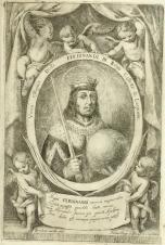 Murillo (diseño) y M. Arteaga (grabado): San Fernando en libro de Torre Farfán.