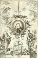 """Herrera """"el Mozo"""" (diseño) y M. Arteaga (grabado): Carlos II bajo la espada de Fernando III en libro de Torre Farfán."""