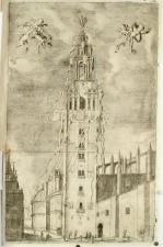 M. Arteaga (grabado): La giralda engalanada para la fiesta de canonización de Fernando III, en libro de Torre Farfán.