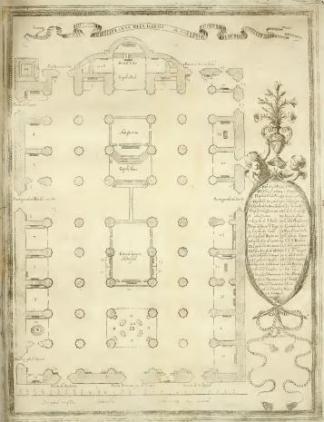 M. Arteaga (grabado): Planta de la Catedral de Sevilla con el arco de San Fernando para la fiesta de canonización.