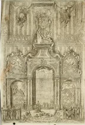 M. Arteaga (grabado): Decoración del interior de la Catedral de Sevilla en la fiesta de canonización de Fernando III, libro de Torre Farfán.