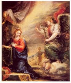 Francisco Rizi: Anunciación. ca. 1665. Museo del Prado. Procedente del retablo de la Natividad del convento de Nuestra Señora de los Ángeles de Madrid.